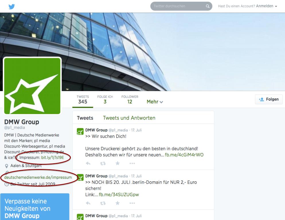 ACHTUNG: Impressumpflicht in neue Twitterprofile