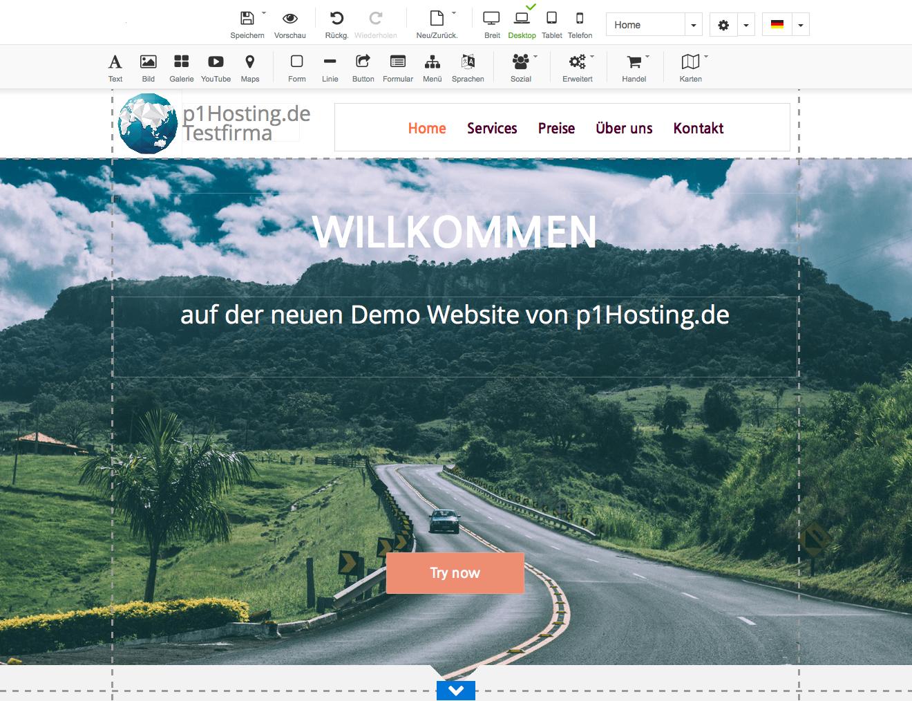 Sitebuilder der Webbaukasten oder Homepagebaukasten, Homepage Baukasten von p1Hosting.de managed IT Premium Hosting www.p1hosting.de