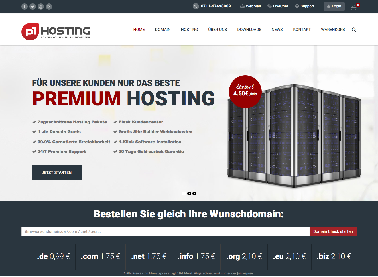 Website-Relaunch von p1Hosting.de