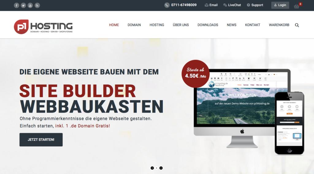 p1Hosting.de präsentiert den eigenen Homepage Baukasten oder auch Webbaukasten genannt